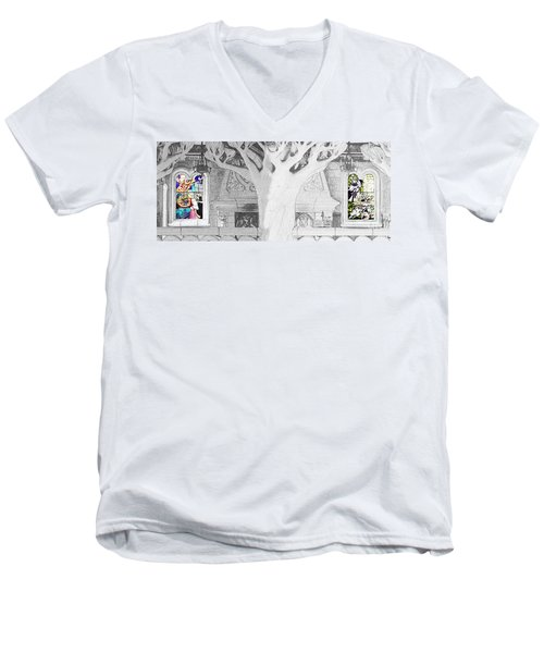 Stained Glass Windows Disney Men's V-Neck T-Shirt by Roger Lighterness