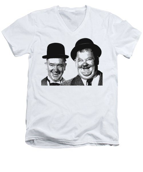 Stan And Ollie - Parallel Hatching Men's V-Neck T-Shirt