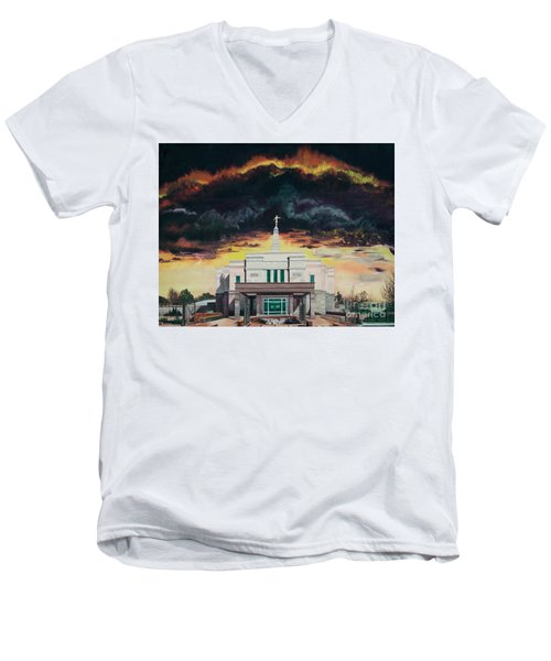Men's V-Neck T-Shirt featuring the painting Stand In Holy Places by Jane Autry