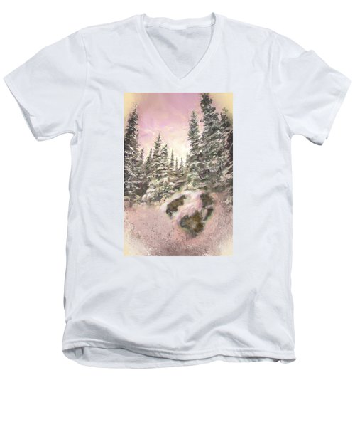 Men's V-Neck T-Shirt featuring the painting Standing Tall by Annette Berglund