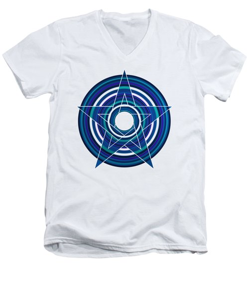 Star Marine Over Concentric Circles Men's V-Neck T-Shirt