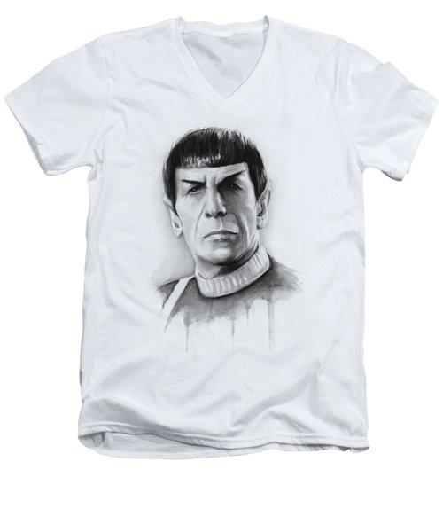 Star Trek Spock Portrait Men's V-Neck T-Shirt by Olga Shvartsur