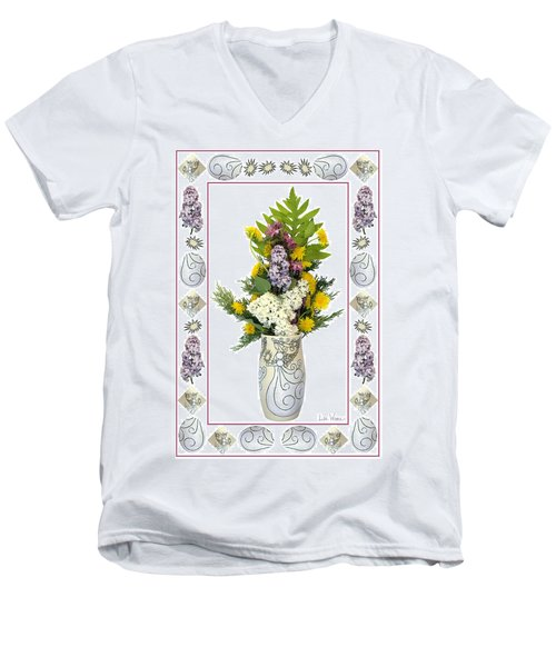 Star Vase With A Bouquet From Heaven Men's V-Neck T-Shirt by Lise Winne