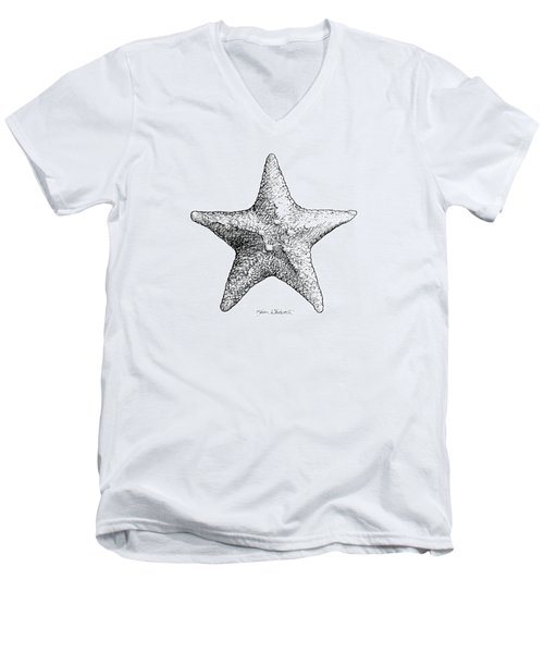 Men's V-Neck T-Shirt featuring the drawing Starfish Drawing Black And White Sea Star by Karen Whitworth