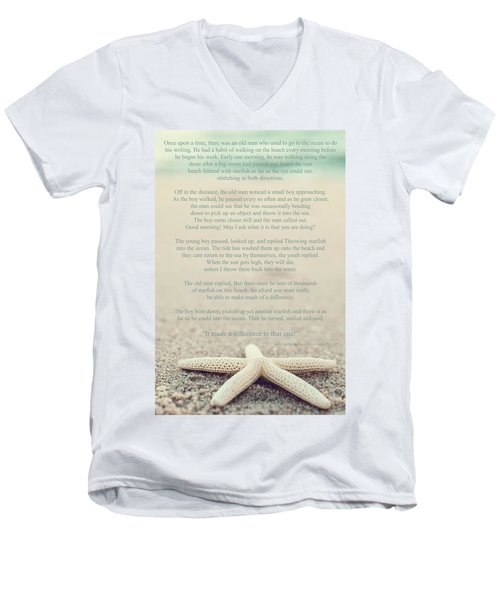 Starfish Make A Difference Vintage Set 1 Men's V-Neck T-Shirt
