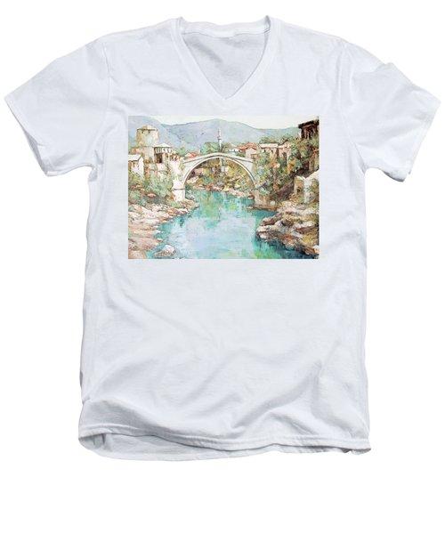 Stari Most Bridge Over The Neretva River In Mostar Bosnia Herzegovina Men's V-Neck T-Shirt by Joseph Hendrix