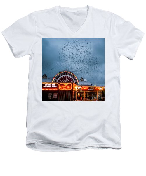 Starlings Over The Neon Lights Of Aberystwyth Pier Men's V-Neck T-Shirt