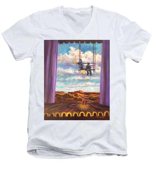Starry Day Men's V-Neck T-Shirt by Randy Burns