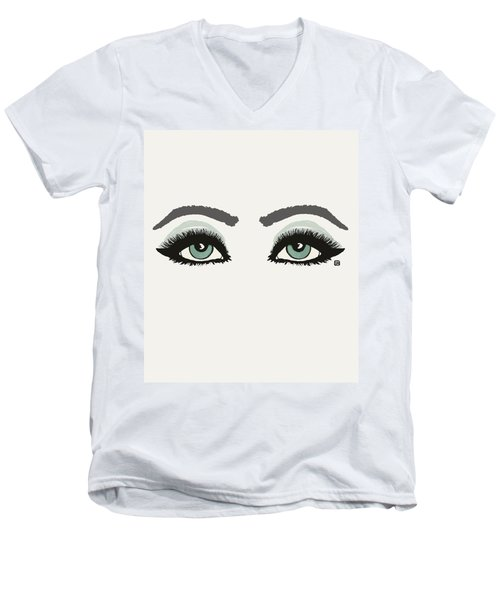 Men's V-Neck T-Shirt featuring the painting Starry Eyed by Lisa Weedn
