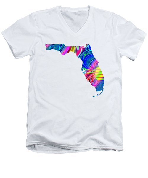 State Of Florida Map Rainbow Splash Fractal Men's V-Neck T-Shirt