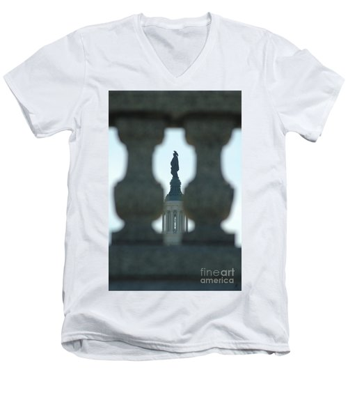 Statue Of Freedom Through Railing Men's V-Neck T-Shirt