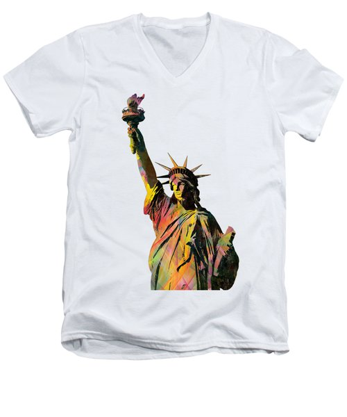 Statue Of Liberty Men's V-Neck T-Shirt by Marlene Watson