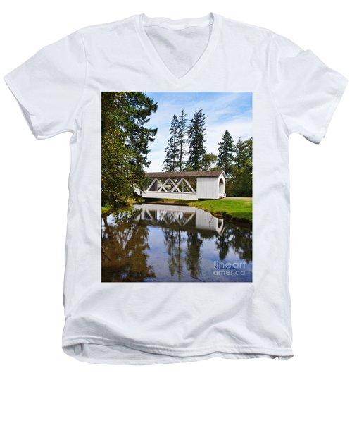 Stayton-jordon Covered Bridge Men's V-Neck T-Shirt