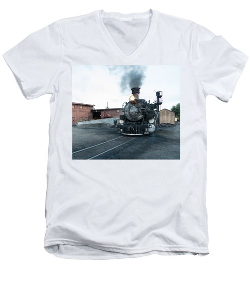 Men's V-Neck T-Shirt featuring the photograph Steam Locomotive In The Train Yard Of The Durango And Silverton Narrow Gauge Railroad In Durango by Carol M Highsmith