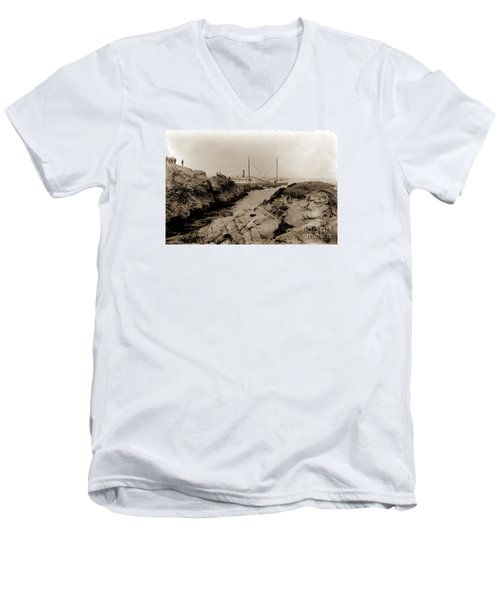 Steam Schooner S S J. B. Stetson, Ran Aground At Cypress Point, Sep. 1934 Men's V-Neck T-Shirt by California Views Mr Pat Hathaway Archives