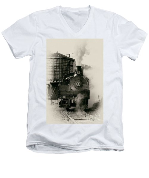 Men's V-Neck T-Shirt featuring the photograph Steam Train by Jerry Fornarotto
