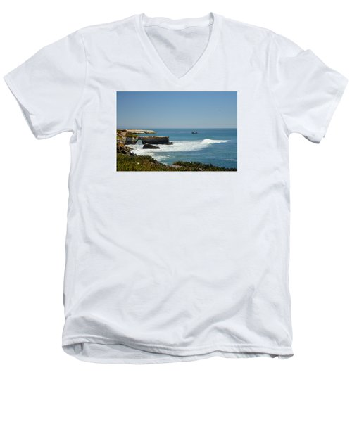 Steamer Lane, Santa Cruz Men's V-Neck T-Shirt by Antonia Citrino