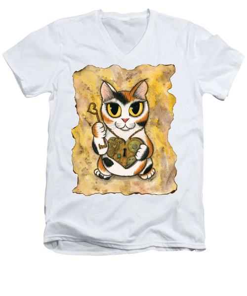 Steampunk Valentine Cat Men's V-Neck T-Shirt