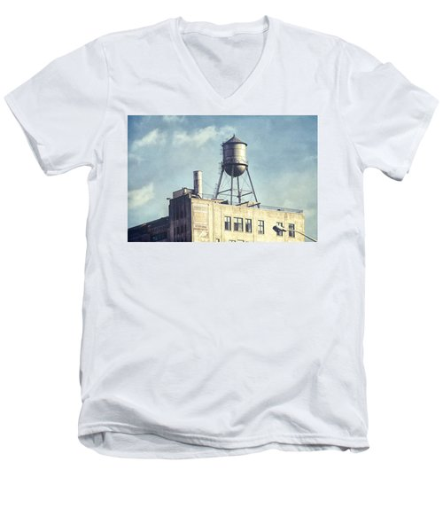 Men's V-Neck T-Shirt featuring the photograph Steel Water Tower, Brooklyn New York by Gary Heller