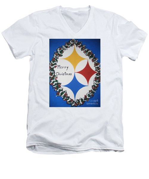 Steelers Christmas Card Men's V-Neck T-Shirt by Jeffrey Koss