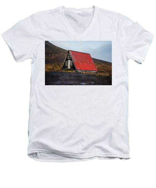 Steep Roof Barn Western Iceland Men's V-Neck T-Shirt