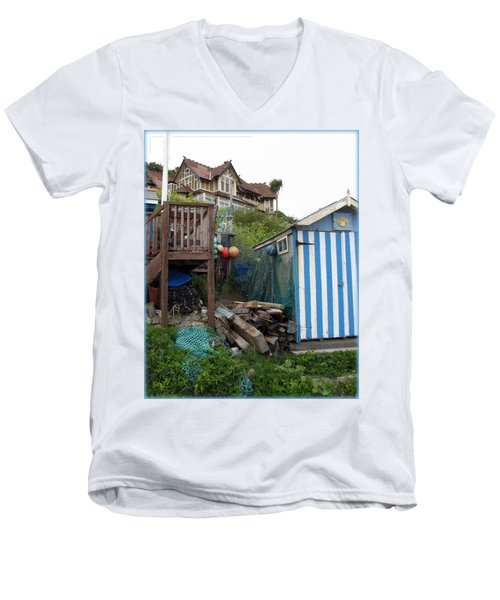 Steephill Cove Men's V-Neck T-Shirt by Carla Parris