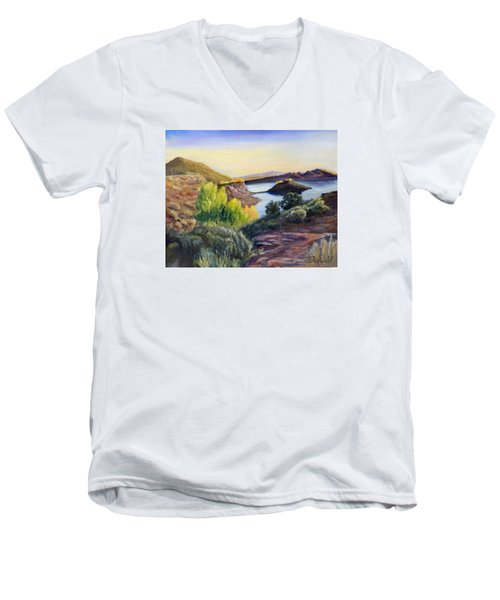 Men's V-Neck T-Shirt featuring the painting Steinaker by Sherril Porter
