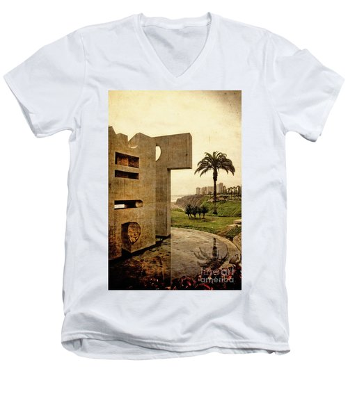 Men's V-Neck T-Shirt featuring the photograph Stelae In The Park - Miraflores Peru by Mary Machare