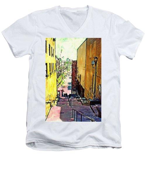 Steps At 187 Street Men's V-Neck T-Shirt by Sarah Loft