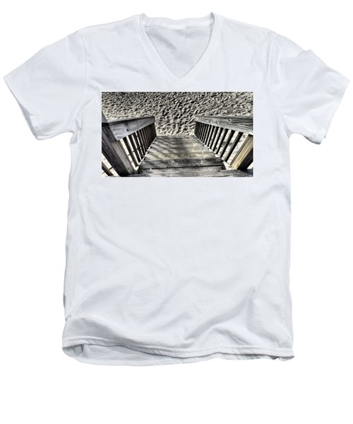 Steps To The Beach Men's V-Neck T-Shirt