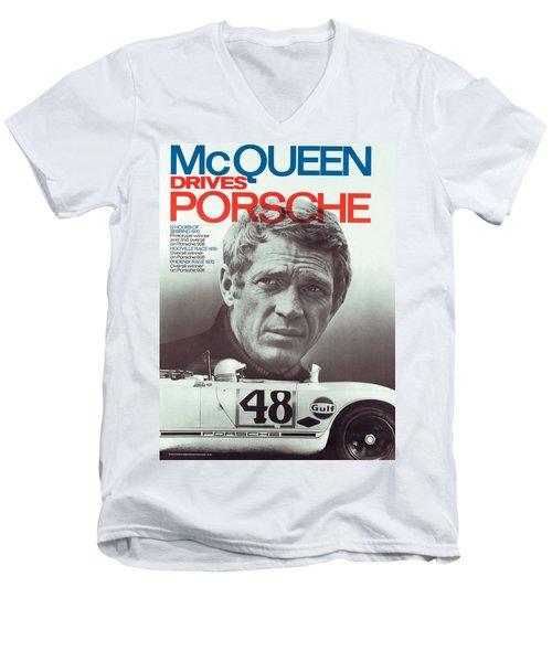 Steve Mcqueen Drives Porsche Men's V-Neck T-Shirt