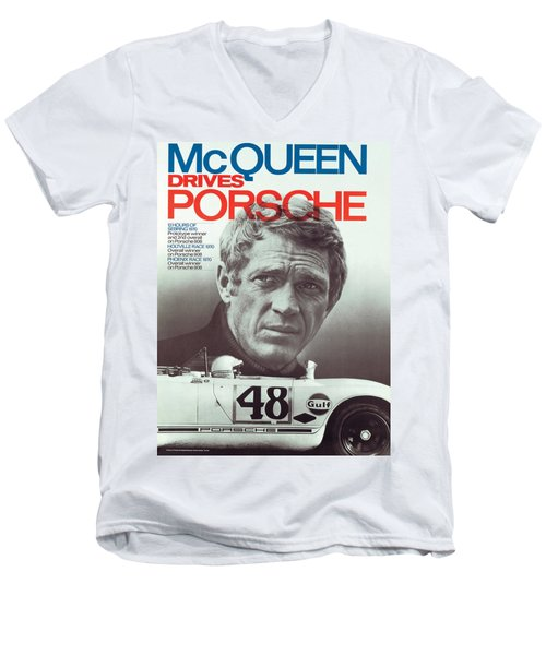 Steve Mcqueen Drives Porsche Men's V-Neck T-Shirt
