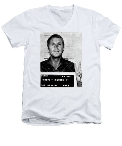 Steve Mcqueen Mug Shot Vertical Men's V-Neck T-Shirt by Tony Rubino