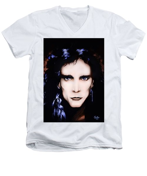 Men's V-Neck T-Shirt featuring the painting Steve Vai by Curtiss Shaffer