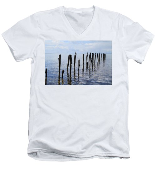 Men's V-Neck T-Shirt featuring the photograph Sticks Out To Sea by Stephen Mitchell
