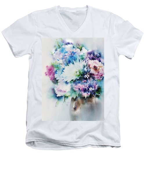 Still Life Rose Bouquet Watercolour Men's V-Neck T-Shirt