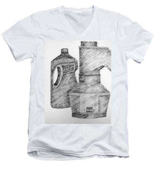 Still Life With Popcorn Maker And Laundry Soap Bottle Men's V-Neck T-Shirt