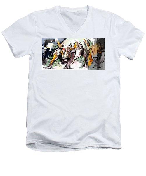 Stock Market Bull Men's V-Neck T-Shirt