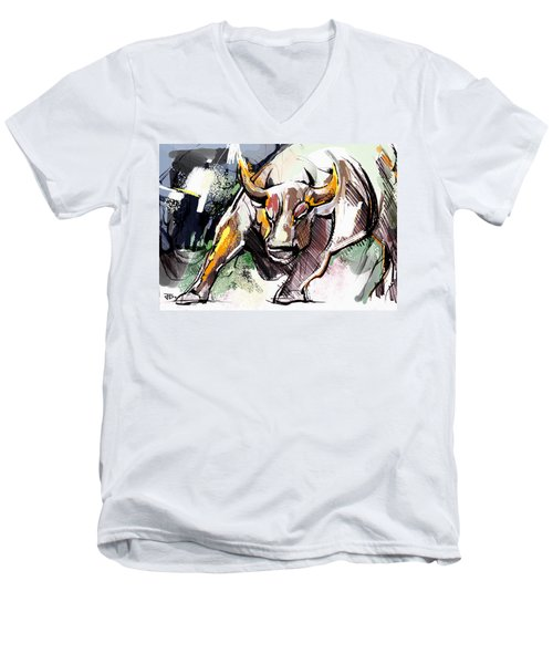 Stock Market Bull Men's V-Neck T-Shirt