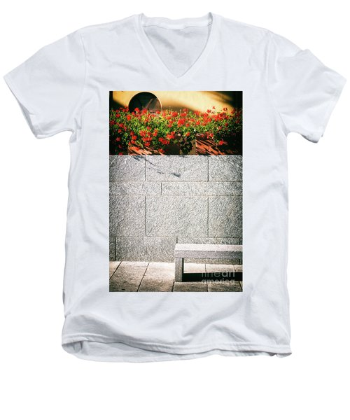 Men's V-Neck T-Shirt featuring the photograph Stone Bench With Flowers by Silvia Ganora
