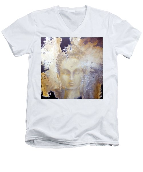 Stone Buddha Men's V-Neck T-Shirt by Dina Dargo