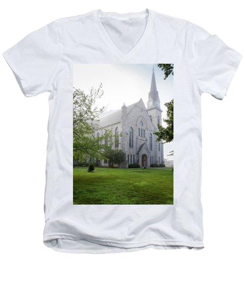 Stone Chapel In Fog Men's V-Neck T-Shirt