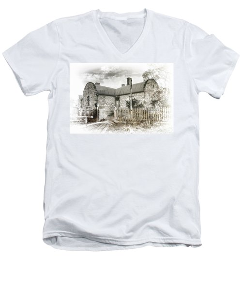 Men's V-Neck T-Shirt featuring the photograph Stone Cottage by Wayne Sherriff