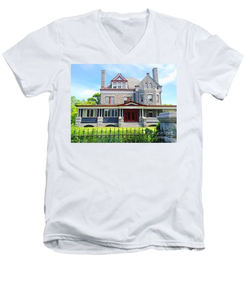 Men's V-Neck T-Shirt featuring the photograph Stone Mansion Red Doors by Becky Lupe