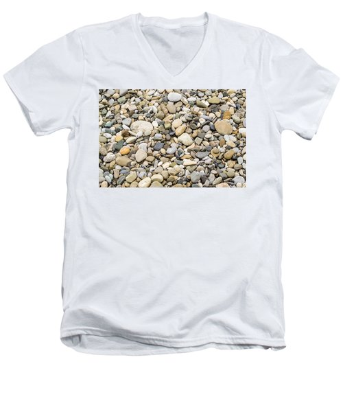 Men's V-Neck T-Shirt featuring the photograph Stone Pebbles Patterns by John Williams