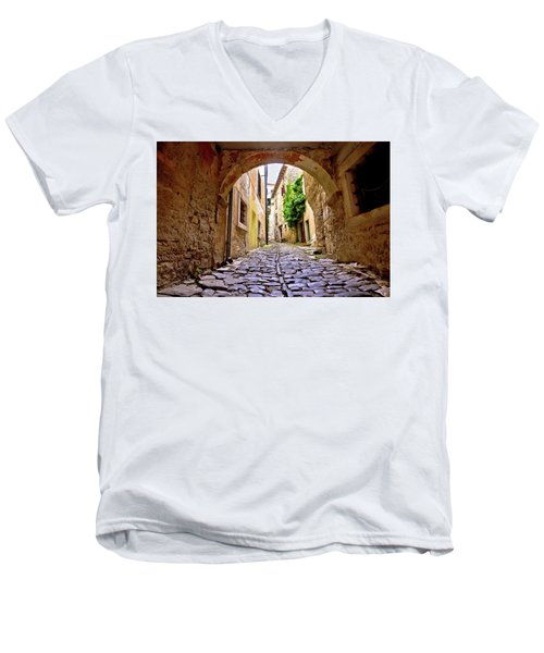Stone Town Of Groznjan Old Street  Men's V-Neck T-Shirt by Brch Photography