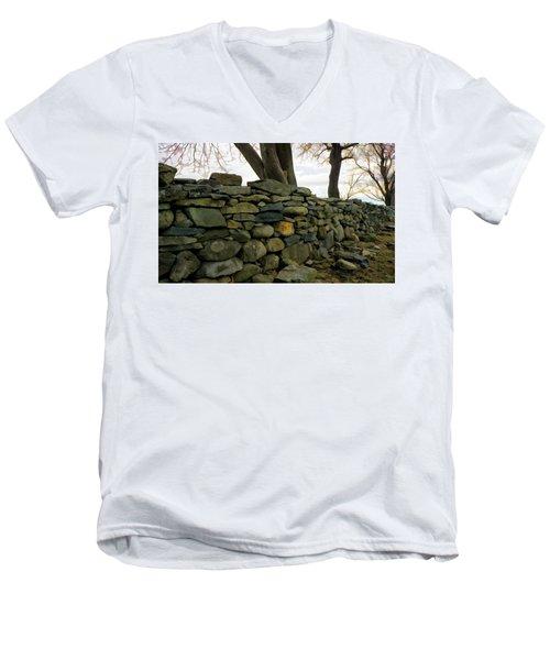 Stone Wall, Colt State Park Men's V-Neck T-Shirt by Nancy De Flon