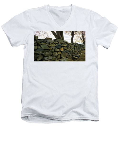 Stone Wall, Colt State Park Men's V-Neck T-Shirt