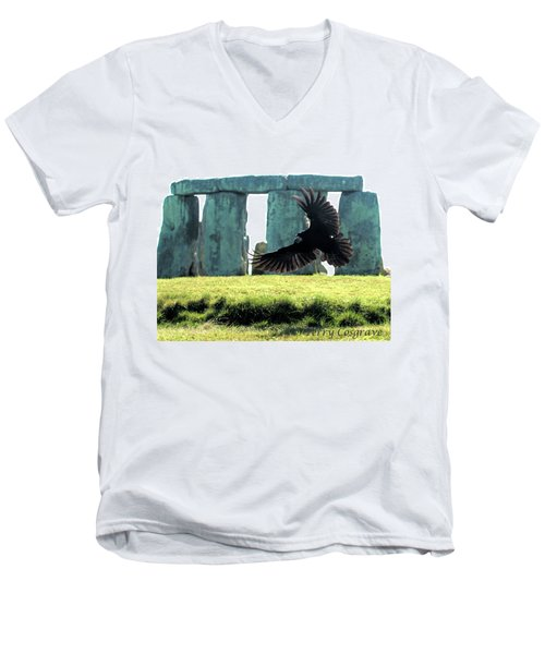 Men's V-Neck T-Shirt featuring the photograph Stonehenge Crow by Terry Cosgrave