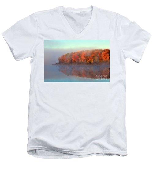 Stoneledge Lake Pristine Beauty In The Fog Men's V-Neck T-Shirt by Terri Gostola
